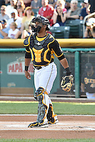 Luis Martinez (20) of the Salt Lake Bees during the game against the Fresno Grizzlies at Smith's Ballpark on May 25, 2014 in Salt Lake City, Utah.  (Stephen Smith/Four Seam Images)
