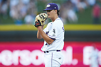 Winston-Salem Dash starting pitcher Blake Battenfield (32) looks to his catcher for the sign against the Frederick Keys at BB&T Ballpark on July 26, 2018 in Winston-Salem, North Carolina. The Keys defeated the Dash 6-1. (Brian Westerholt/Four Seam Images)