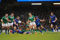 Luke Fitzgerald of Ireland loses the ball as he is tackled from behind by Alexandre Dumoulin of France during Match 39 of the Rugby World Cup 2015 between France and Ireland - 11/10/2015 - Millennium Stadium, Cardiff<br /> Mandatory Credit: Rob Munro/Stewart Communications