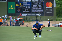 Henrik Stenson (SWE) lines up his putt on 1 during round 1 of the AT&T Byron Nelson, Trinity Forest Golf Club, Dallas, Texas, USA. 5/9/2019.<br /> Picture: Golffile | Ken Murray<br /> <br /> <br /> All photo usage must carry mandatory copyright credit (© Golffile | Ken Murray)