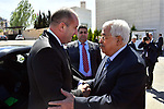 Palestinian President Mahmoud Abbas welcomes to Bulgarian President Rumen Radev, in the West Bank city of Ramallah on March 22, 2018. Photo by Thaer Ganaim