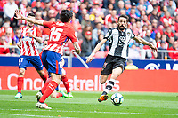 Atletico de Madrid Stefan Savic and Levante Jose Luis Morales during La Liga match between Atletico de Madrid at Wanda Metropolitano in Madrid, Spain. April 15, 2018. (ALTERPHOTOS/Borja B.Hojas) /NortePhoto.com NORTEPHOTOMEXICO