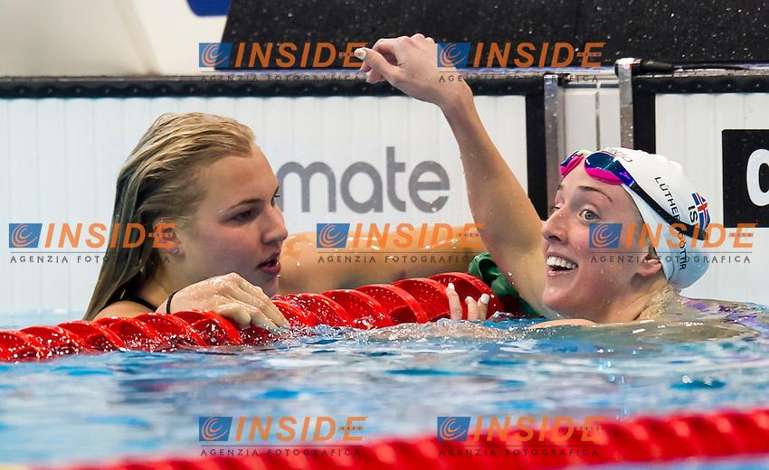 MEILUTYTE Ruta LTU gold medal LUTHERSDOTTIR Hrafnhildu ISL silver medal<br /> London, Queen Elizabeth II Olympic Park Pool <br /> LEN 2016 European Aquatics Elite Championships <br /> Swimming<br /> Women's 100m breaststroke final  <br /> Day 10 18-05-2016<br /> Photo Giorgio Perottino/Deepbluemedia/Insidefoto