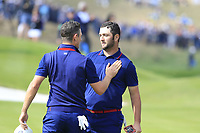 Justin Rose and Jon Rahm Team Europe lose the match 1 down on the 18th green during Friday's Fourball Matches at the 2018 Ryder Cup, Le Golf National, Iles-de-France, France. 28/09/2018.<br /> Picture Eoin Clarke / Golffile.ie<br /> <br /> All photo usage must carry mandatory copyright credit (© Golffile | Eoin Clarke)
