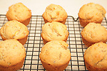 muffins cooling on a baking rack