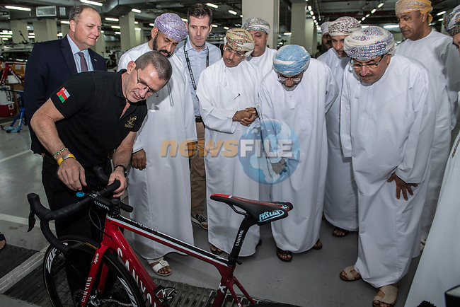 Ministerial visit to meet with some of the top riders and teams before the start of 10th Tour of Oman 2019, Muscat, Oman. 15th February 2019.<br /> Picture: ASO/P.Ballet | Cyclefile<br /> All photos usage must carry mandatory copyright credit (© Cyclefile | ASO/P.Ballet)