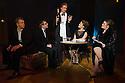 London, UK. 10.10.2014. Mountview Academy of Theatre Arts presents CURTAINS, at the Bernie Grant Arts Centre. Picture shows:  Alastair Farrall-Daniel (AARON FOX), Liam Farrow (OSCAR SHAPIRO), Koda Holland-Smith (CHRISTOPHER BLLING), Grace Cowell (GEORGIA HENDRICKS) and Vikki Riches (CARMEN BERNSTEIN). Photograph © Jane Hobson.