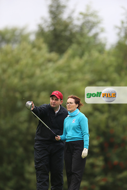 Cathal and Heather (Strabane) during the Ulster Mixed Foursomes Final, Shandon Park Golf Club, Belfast. 19/08/2016<br /> <br /> Picture Jenny Matthews / Golffile.ie<br /> <br /> All photo usage must carry mandatory copyright credit (© Golffile | Jenny Matthews)