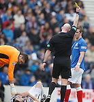 David Templeton catches David Anderson with a late challenge and gets booked