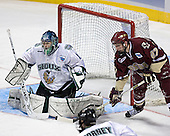 Jordan Parise, Andrew Orpik - The Boston College Eagles defeated the University of North Dakota Fighting Sioux 6-5 on Thursday, April 6, 2006, in the 2006 Frozen Four afternoon Semi-Final at the Bradley Center in Milwaukee, Wisconsin.