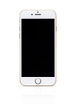 Gold white Apple iPhone 6 6s with blank black screen isolated on white background with clipping path