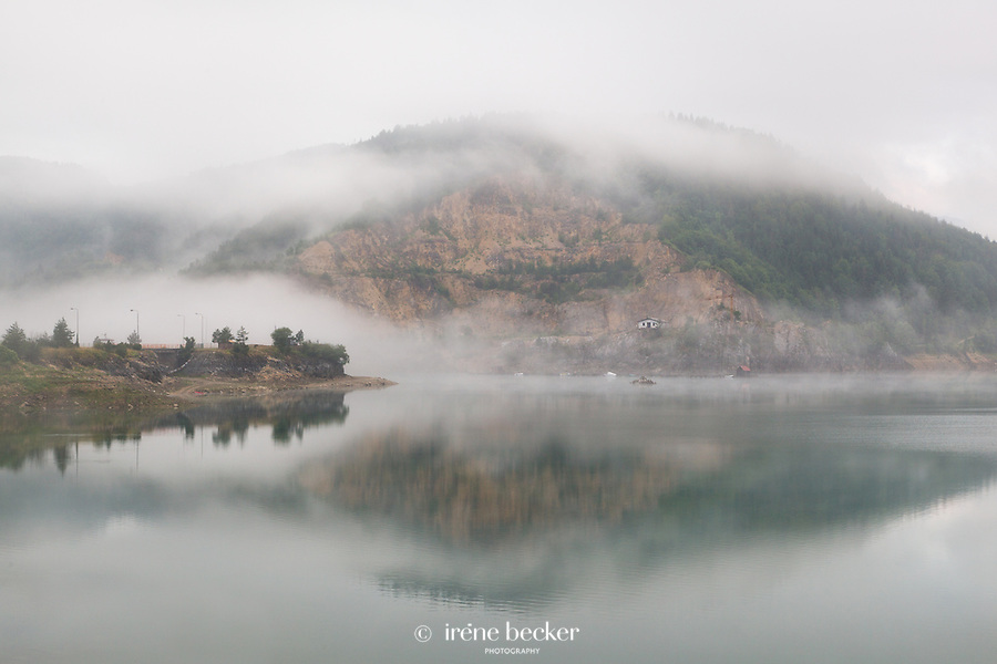 Morning mist on Zaovine Lake. Tara mountain,West Serbia.