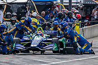 Alexander Rossi, #27 Honda, pit stop, Detroit Grand Prix, IndyCar race, Belle Isle, Detroit, MI, June 2018.(Photo by Brian Cleary/bcpix.com)