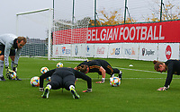 20191006 TUBIZE: Red Flames' keeper trainer  Sven Cnudde is pictured making his keeper do push ups at the Open Training of Red Flames on Sunday 6th of October 2019, Tubize, Belgium  PHOTO SPORTPIX.BE | SEVIL OKTEM