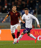 Calcio, Serie A: Roma vs Fiorentina. Roma, stadio Olimpico, 4 marzo 2016.<br /> Roma&rsquo;s Kostas Manolas, left, is chased by Fiorentina&rsquo;s Josip Ilicic during the Italian Serie A football match between Roma and Fiorentina at Rome's Olympic stadium, 4 March 2016.<br /> UPDATE IMAGES PRESS/Riccardo De Luca