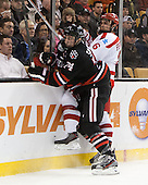 Vinny Saponari (NU - 74), Alexx Privitera (BU - 6) - The Northeastern University Huskies defeated the Boston University Terriers 3-2 in the opening round of the 2013 Beanpot tournament on Monday, February 4, 2013, at TD Garden in Boston, Massachusetts.
