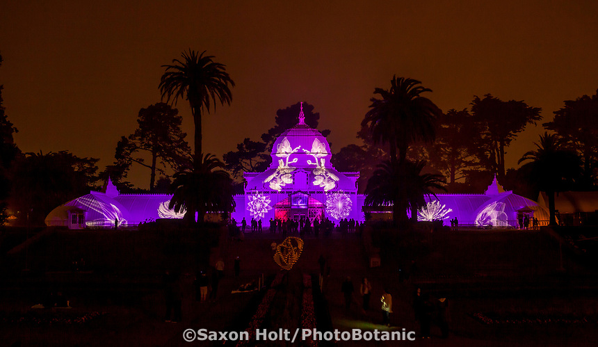 Lighting of San Francisco Conservatory of Flowers for 2017 Summer of Love Celebration in Golden Gate Park, Illumination by Obscura Digital