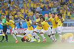 Brazil team group (BRA), JUNE 28, 2014 - Football / Soccer : Players of Btazil celebrate after winning the penalty shoot out during the FIFA World Cup Brazil 2014 round of 16 match between Brazil and Chile at Estadio Mineirao in Belo Horizonte, Brazil. (Photo by FAR EAST PRESS/AFLO)