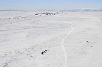 Aerial of Paul Gehardt at the Lagoon nearing the Shaktoolik checkpoint in Arctic Alaska during the 2010 Iditarod