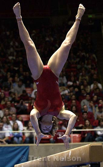Salt Lake City - Kim Allan on beam. Utah hosts BYU women's gymnastics Friday night at the Huntsman Center; 01.17.2003, 8:08:19 PM<br />