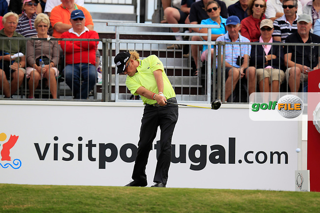 Miguel Angel Jimenez (ESP) tees off the 1st tee to start Sunday's Final Round of the Portugal Masters at the Oceanico Victoria Golf Course, Vilamoura, Portugal 14th October 2012 (Photo Eoin Clarke/www.golffile.ie)