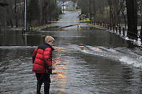 Falls River Flooding Across Dennison Road in Essex CT on 30 March 2010