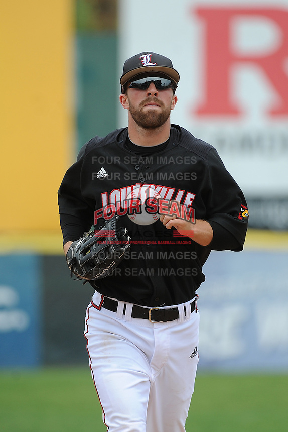University of Louisville Cardinals outfielder Cole Sturgeon (15) during a game against the Temple University Owls at Campbell's Field on May 10, 2014 in Camden, New Jersey. Temple defeated Louisville 4-2.  (Tomasso DeRosa/ Four Seam Images)