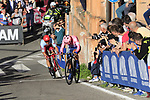Jonathan Caicedo (ECU) EF Education First drops a chain and is caught by Reto Hollenstein (SUI) Team Katusha Alpecin on the San Luca climb during Stage 1 of the 2019 Giro d'Italia, an individual time trial running 8km from Bologna to the Sanctuary of San Luca, Bologna, Italy. 11th May 2019.<br /> Picture: Eoin Clarke | Cyclefile<br /> <br /> All photos usage must carry mandatory copyright credit (© Cyclefile | Eoin Clarke)