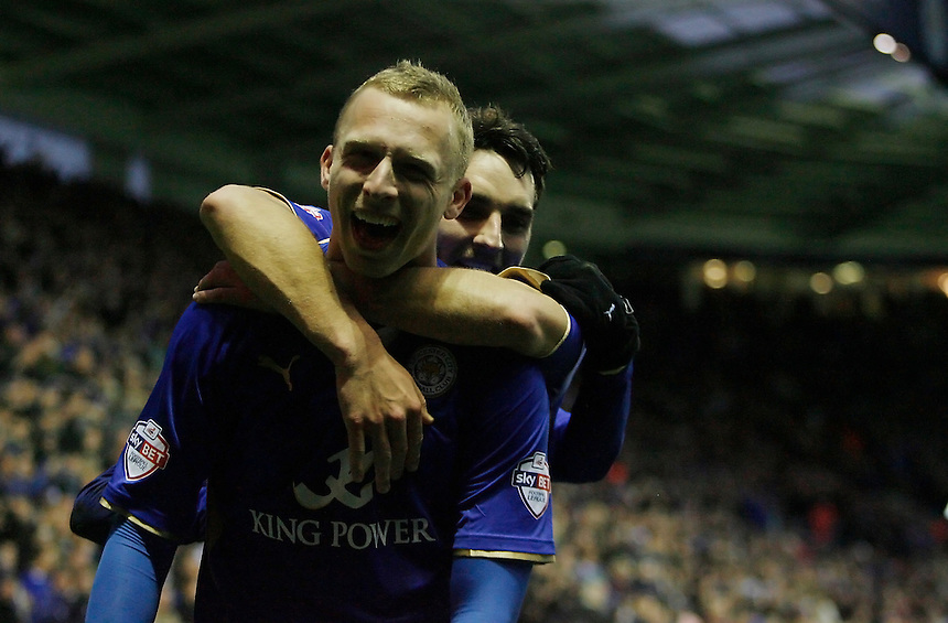 Leicester City's Ritchie De Laet celebrates scoring his sides second goal <br /> <br /> Photo by Jack Phillips/CameraSport<br /> <br /> Football - The Football League Sky Bet Championship - Leicester City v Middlesbrough - Saturday 25th January 2014 - The King Power Stadium - Leicester<br /> <br /> &copy; CameraSport - 43 Linden Ave. Countesthorpe. Leicester. England. LE8 5PG - Tel: +44 (0) 116 277 4147 - admin@camerasport.com - www.camerasport.com
