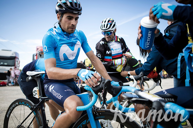 Team Movistar riders Mikel Landa (ESP/Movistar) and Alejandro Valverde (ESP/Movistar) post race recovering  atop La Planche des Belles Filles. <br /> <br /> Stage 6: Mulhouse to La Planche des Belles Filles (157km)<br /> 106th Tour de France 2019 (2.UWT)<br /> <br /> ©kramon