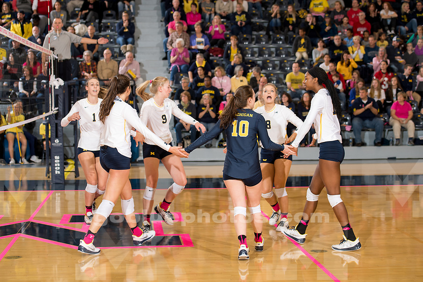 The University of Michigan volleyball team falls to Nebraska, 3-0, at Cliff Keen Arena in Ann Arbor, MI on October 29, 2017