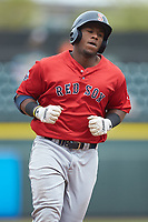 Jerry Downs (30) of the Salem Red Sox rounds the bases after hitting a home run against the Winston-Salem Dash at BB&T Ballpark on April 22, 2018 in Winston-Salem, North Carolina.  The Red Sox defeated the Dash 6-4 in 10 innings.  (Brian Westerholt/Four Seam Images)