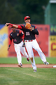 Batavia Muckdogs second baseman Rony Cabrera (26) during a game against the West Virginia Black Bears on June 28, 2016 at Dwyer Stadium in Batavia, New York.  Batavia defeated West Virginia 3-1.  (Mike Janes/Four Seam Images)