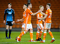 Blackpool's Steve Davies celebrates scoring his side's first goal with teammate Ollie Turton<br /> <br /> Photographer Alex Dodd/CameraSport<br /> <br /> The EFL Checkatrade Trophy Northern Group C - Blackpool v West Bromwich Albion U21 - Tuesday 9th October 2018 - Bloomfield Road - Blackpool<br />  <br /> World Copyright &copy; 2018 CameraSport. All rights reserved. 43 Linden Ave. Countesthorpe. Leicester. England. LE8 5PG - Tel: +44 (0) 116 277 4147 - admin@camerasport.com - www.camerasport.com