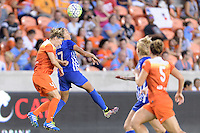 Houston, TX - Sunday Sept. 11, 2016: Rebecca Moros, Kyah Simon during a regular season National Women's Soccer League (NWSL) match between the Houston Dash and the Boston Breakers at BBVA Compass Stadium.