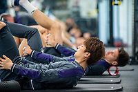 Ki Sung-Yueng of Swansea City stretches during a gym session at The Fairwood training Ground, Swansea, Wales, UK. Tuesday 25 April 2017
