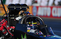 Feb. 9, 2012; Pomona, CA, USA; NHRA top fuel dragster driver Steve Chrisman during qualifying at the Winternationals at Auto Club Raceway at Pomona. Mandatory Credit: Mark J. Rebilas-