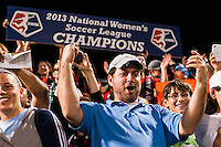 Portland Thorns fans celebrate after the match.  The Portland Thorns defeated the Western New York Flash 2-0 during the National Women's Soccer League (NWSL) finals at Sahlen's Stadium in Rochester, NY, on August 31, 2013.