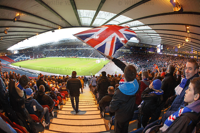 Rangers fans welcome the teams onto the park at Hampden