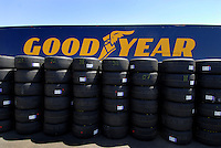Apr 20, 2006; Phoenix, AZ, USA; Goodyear tires wait in the Nextel Cup garage area for teams to pick them up prior to practice for the Nextel Cup Subway Fresh 500 at Phoenix International Raceway. Mandatory Credit: Mark J. Rebilas-US PRESSWIRE Copyright © 2006 Mark J. Rebilas
