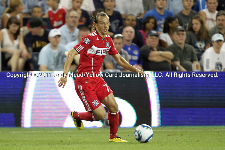 09 June 2011: Chicago's Bratislav Ristic (SRB). Sporting Kansas City played the Chicago Fire to a 0-0 tie in the inaugural game at LIVESTRONG Sporting Park in Kansas City, Kansas in a 2011 regular season Major League Soccer game.