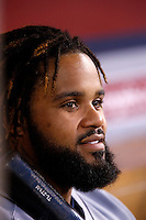 Prince Fielder #28 of the Detroit Tigers during a game against the Los Angeles Angels at Angel Stadium on September 7, 2012 in Anaheim, California. Los Angeles defeated Detroit 3-2. (Larry Goren/Four Seam Images)
