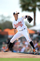 Baltimore Orioles pitcher Ubaldo Jimenez (31) during a spring training game against the Philadelphia Phillies on March 7, 2014 at Ed Smith Stadium in Sarasota, Florida.  Baltimore defeated Philadelphia 15-4.  (Mike Janes/Four Seam Images)