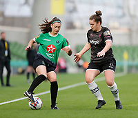 3rd November 2019; Aviva Stadium, Dublin, Leinster, Ireland; FAI Cup Womens Final Football, Peamount United versus Wexford Youth Womens Football Club; Lauryn O'Callaghan (Peamount United) turns back inside Ciara Rossiter (Wexford Youths) - Editorial Use