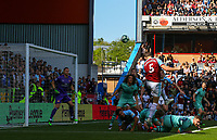 Burnley's James Tarkowski heads at goal in the first half<br /> <br /> Photographer Alex Dodd/CameraSport<br /> <br /> The Premier League - Burnley v Arsenal - Sunday 12th May 2019 - Turf Moor - Burnley<br /> <br /> World Copyright &copy; 2019 CameraSport. All rights reserved. 43 Linden Ave. Countesthorpe. Leicester. England. LE8 5PG - Tel: +44 (0) 116 277 4147 - admin@camerasport.com - www.camerasport.com