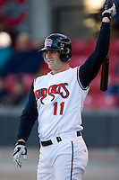 Chris Heisey #11 of the Carolina Mudcats waits for his turn to hit at Five County Stadium May 19, 2009 in Zebulon, North Carolina. (Photo by Brian Westerholt / Four Seam Images)