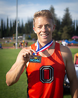 Andrew McCall '19 finished 3rd in the 400 meter hurdles<br /> The Occidental College men's and women's track and field teams compete in the 2019 Southern California Intercollegiate Athletic Conference (SCIAC) Track and Field Championships at the Claremont-Mudd-Scripps Burns Track Complex in Claremont, Calif. on Sunday, April 28, 2019.<br /> After the two-day SCIAC Championships CMS scored 211.50 points, followed by Pomona-Pitzer (171.50), Redlands (114), Occidental (92.50), Whittier (57.50), La Verne (54), Cal Lutheran (48), Chapman (23) and Caltech (4).