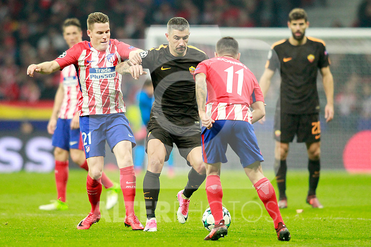 Atletico de Madrid's Kevin Gameiro (l) and Angel Correa (r) and AS Roma's Aleksandar Kolarov during Champions League 2017/2018, Group C, match 5. November 22,2017. (ALTERPHOTOS/Acero)