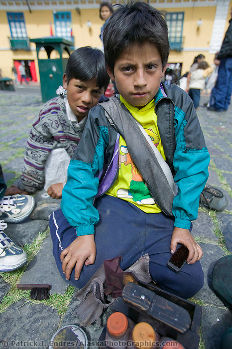 Shoe shine boy, Quito, Ecuador