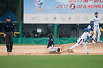 #77 Nana Watanabe of Japan (L) in action during during the BFA Women's Baseball Asian Cup match between South Korea and Japan at Sai Tso Wan Recreation Ground on September 2, 2017 in Hong Kong. Photo by Marcio Rodrigo Machado / Power Sport Images